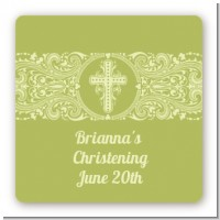 Cross Sage Green - Square Personalized Baptism / Christening Sticker Labels