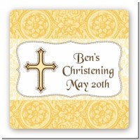 Cross Yellow & Brown - Square Personalized Baptism / Christening Sticker Labels