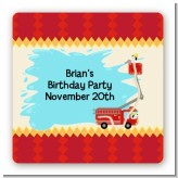 Fire Truck - Square Personalized Birthday Party Sticker Labels