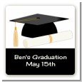 Graduation Cap - Square Personalized Graduation Party Sticker Labels thumbnail