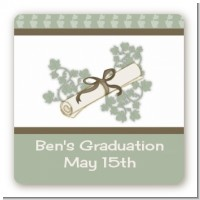 Graduation Diploma - Square Personalized Graduation Party Sticker Labels