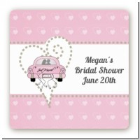 Just Married - Square Personalized Bridal Shower Sticker Labels
