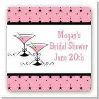 Martini Glasses - Square Personalized Bridal Shower Sticker Labels