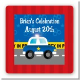Police Car - Square Personalized Birthday Party Sticker Labels