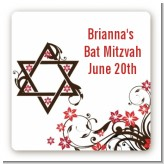 Jewish Star of David Floral Blossom - Square Personalized Bar / Bat Mitzvah Sticker Labels