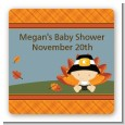 Little Turkey Boy - Square Personalized Baby Shower Sticker Labels thumbnail