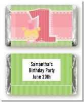 1st Birthday Girl - Personalized Birthday Party Mini Candy Bar Wrappers
