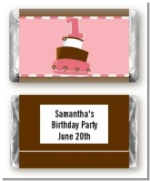 1st Birthday Topsy Turvy Pink Cake - Personalized Birthday Party Mini Candy Bar Wrappers