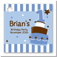1st Birthday Topsy Turvy Blue Cake - Personalized Birthday Party Card Stock Favor Tags