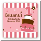 1st Birthday Topsy Turvy Pink Cake - Square Personalized Birthday Party Sticker Labels