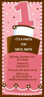 1st Birthday Topsy Turvy Pink Cake - Birthday Party Tall Invitations