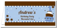1st Birthday Topsy Turvy Blue Cake - Personalized Birthday Party Place Cards