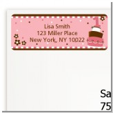 1st Birthday Topsy Turvy Pink Cake - Birthday Party Return Address Labels