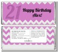 21st Birthday Chevron Pattern - Personalized Birthday Party Candy Bar Wrappers thumbnail