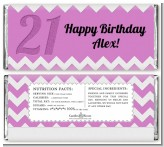 21st Birthday Chevron Pattern - Personalized Birthday Party Candy Bar Wrappers