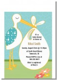 Stork Neutral - Baby Shower Petite Invitations
