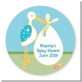 Stork It's a Boy - Round Personalized Baby Shower Sticker Labels