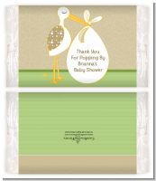 Stork Neutral - Personalized Popcorn Wrapper Baby Shower Favors