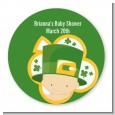 St. Patrick's Baby Shamrock - Round Personalized Baby Shower Sticker Labels thumbnail