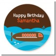 Submarine - Round Personalized Birthday Party Sticker Labels thumbnail