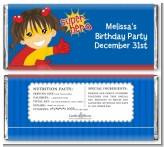 Superhero Girl - Personalized Birthday Party Candy Bar Wrappers