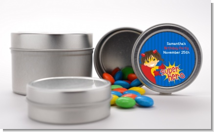Superhero Girl - Custom Birthday Party Favor Tins