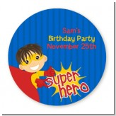 Superhero Boy - Round Personalized Birthday Party Sticker Labels