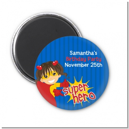 Superhero Girl - Personalized Birthday Party Magnet Favors