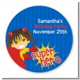 Superhero Girl - Round Personalized Birthday Party Sticker Labels thumbnail