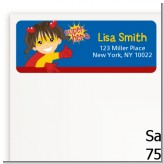 Superhero Girl - Birthday Party Return Address Labels
