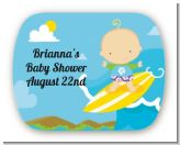 Surf Boy - Personalized Baby Shower Rounded Corner Stickers