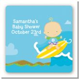 Surf Boy - Square Personalized Baby Shower Sticker Labels