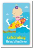 Surf Girl - Custom Large Rectangle Baby Shower Sticker/Labels