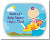 Surf Girl - Personalized Baby Shower Rounded Corner Stickers