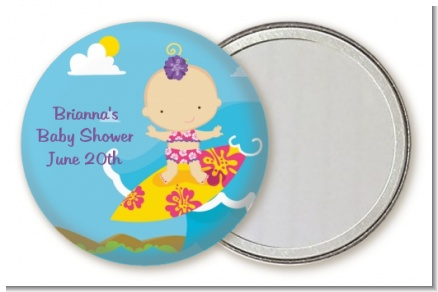 Surf Girl - Personalized Baby Shower Pocket Mirror Favors