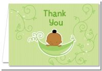 Sweet Pea African American Boy - Baby Shower Thank You Cards
