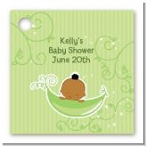 Sweet Pea African American Boy - Personalized Baby Shower Card Stock Favor Tags