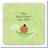 Sweet Pea African American Boy - Square Personalized Baby Shower Sticker Labels