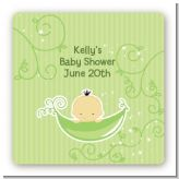 Sweet Pea Asian Boy - Square Personalized Baby Shower Sticker Labels