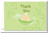 Sweet Pea Caucasian Boy - Baby Shower Thank You Cards