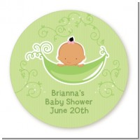 Sweet Pea Hispanic Girl - Round Personalized Baby Shower Sticker Labels