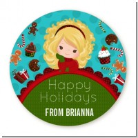 Dreaming of Sweet Treats - Round Personalized Christmas Sticker Labels