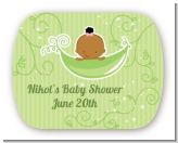 Sweet Pea African American Girl - Personalized Baby Shower Rounded Corner Stickers