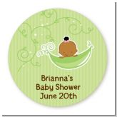 Sweet Pea African American Girl - Round Personalized Baby Shower Sticker Labels