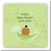 Sweet Pea African American Girl - Square Personalized Baby Shower Sticker Labels