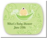 Sweet Pea Asian Girl - Personalized Baby Shower Rounded Corner Stickers
