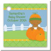 Pumpkin Baby African American - Personalized Baby Shower Card Stock Favor Tags