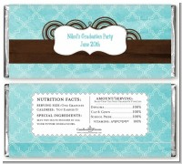 Teal & Brown - Personalized Graduation Party Candy Bar Wrappers