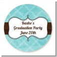 Teal & Brown - Round Personalized Graduation Party Sticker Labels thumbnail
