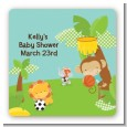 Team Safari - Square Personalized Baby Shower Sticker Labels thumbnail